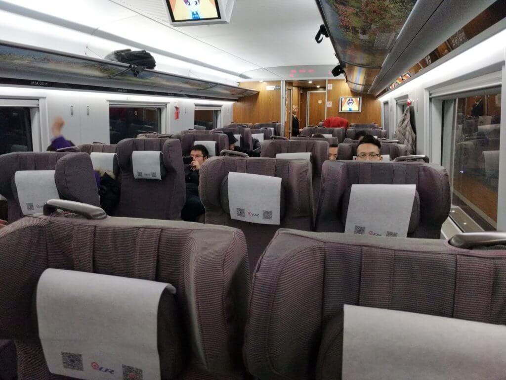中国の高速鉄道1等席